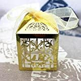 Alcoa Prime 50pcs Heart Birdcage Laser Cut Candy Boxes With Ribbon Wedding Party Boxes
