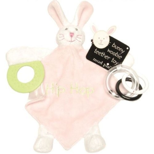 Mud Pie EIEIO Teether Mini-Blanket and Ring Toy, Bunny