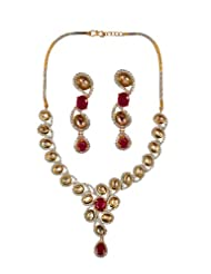 Alkafashionjewels Fusion Of Kundan, Cz Stones And Red Stones For Women
