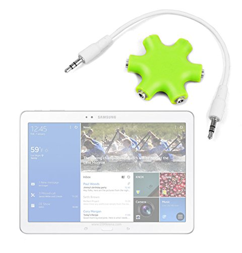"Duragadget Lime Green 5-Way Headphone Splitter ""Star"" For Samsung Galaxy Tab 10.1 (2014)"