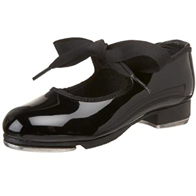 Capezio Dance Girls' Jr. Tyette N625,Black Patent,US 10.5 WW
