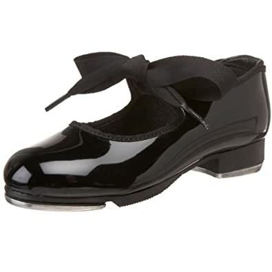 Capezio Dance Girls' Jr. Tyette N625,Black Patent,US 2.5 WW