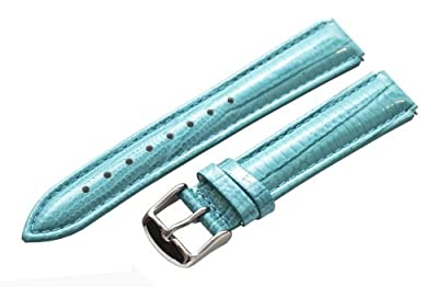 Clockwork Synergy® - 18mm x 15mm - Turquoise Lizard Grain Leather Watch Band fits Philip stein Small