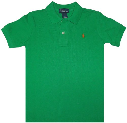 Polo By Ralph Lauren Boy'S Short Sleeve Shirt Green With Orange Pony (5) front-1043020