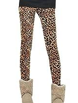 Allegra K Women Elastic Waist Fleece Lining Leopard Prints Warm Skinny Leggings
