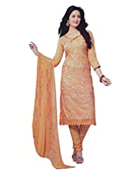 Your Choice Women's Cotton Gold Semi-Stitched Salwar Suit Dress Material With Dupatta