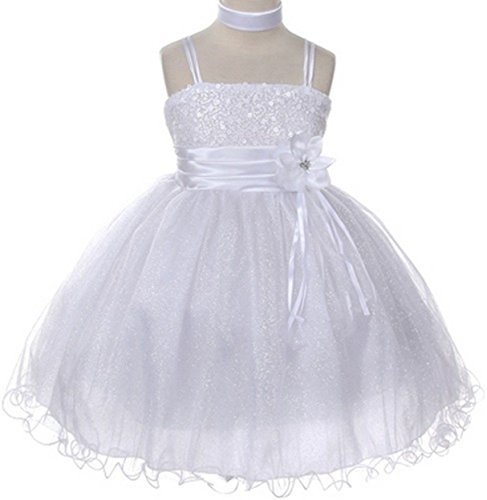 Akidress Sparkle Sequined Flower Girls Dress Set Pageant Wedding Prom Easter White 4-14