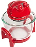 Andrew James Red 7 Litre Premium Halogen Oven including extender ring (up to 10 litres), baking and steamer trays, lid holder + 128 recipe book + an extra easily spare replaceable bulb + 2 Year Warranty