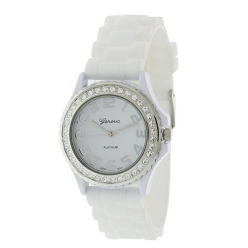 Viken Platinum Cz Accented Silicon Wrist Watch(Assorted Color) (White)
