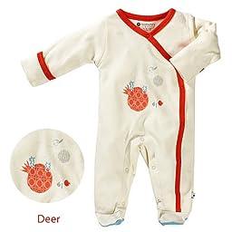 Baby Soy Illustrated Organic Footie, Deer (6-12M/Neutral Cream)