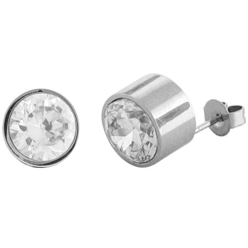 Inox Jewelry cz Round Shaped 316L Stainless Steel Stud Earrings
