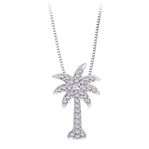 Diamond Palm Tree Pendant with Chain in 10K White Gold (0.15 cttw) from Katarina