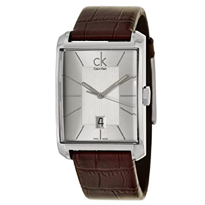 Calvin Klein Men's K2M21126 'Window' Silver Dial Brown Leather Strap Swiss Quartz Watch