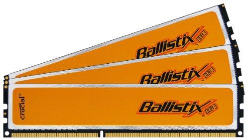 Crucial Technology Ballistix 6 GB Kit (3 x 2 GB) DDR3-1600 CL8 1.65V Memory Kit with XMP, BL3CP25664BN1608