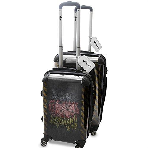 Drapeaux Signés Allemagne, 2 pièce Set Luggage Bagage Trolley de Voyage Rigide 360 degree 4 Roues Valise avec Echangeable Design Coloré. Grandeur: Adapté à la Cabine S, M