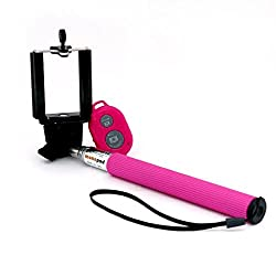 BMS Pink Selfie Monopod Stick with Bluetooth Wireless Remote Shutter for iPhone, Samsung, HTC, etc Smartphones (Android and IOS Systems)