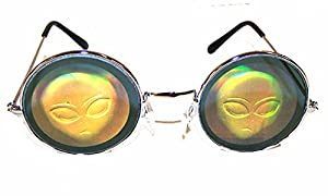 1 Pair of Round Alien Head Hologram Glasses - Aliens 3d Novelty Unisex Novelty Sunglasses by Novelties company