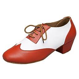 Minitoo Men\'s TH177 Fashion Lace-up Orange Leather Wedding Ballroom Latin Taogo Dance Shoes 12 M US