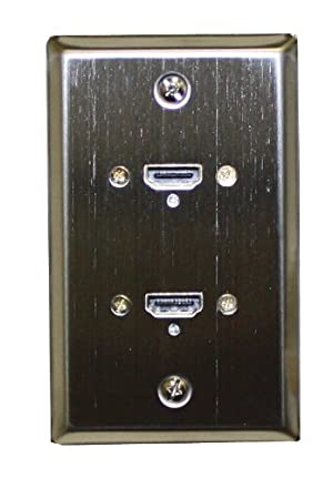 Stainless Steel Wall Plate with Two HDMI Feed-Thru Connectors : 75-701