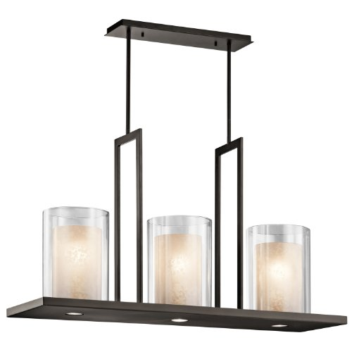 B00HHF65BO Kichler Lighting 42548OZ Triad 3LT Linear Pendant, Olde Bronze Finish with Clear Outside/Tea-Stained Inside Glass Shades
