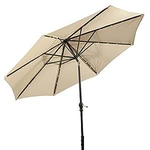 Giantex 10 39 Patio Solar Umbrella Led Aluminum Patio Market Umbrella Tilt W Crank