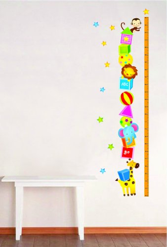 Cute Animal Acrobat with Height Measurement Chart Wall Decals - 1