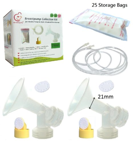 Breast Pump Kit And Breastmilk Storage Bags For Medela Pump In Style Advanced Breastpump. Include 2 Small Breastshields 21Mm, 2 Tubes, 2 Valves, 4 Membranes, And 25 6Oz/180Ml Breastmilk Storage Bags. Replace Medela Personalfit Breastshield, Personalfit Co