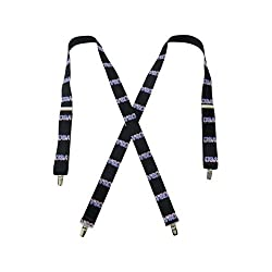 48 Inch, USA Print Black Elastic X Cross Back, Unisex Clip End Suspenders