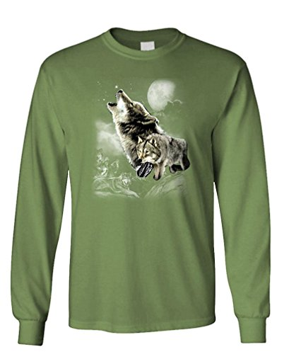 Wolf Wilderness - Native American Indian Long Sleeved T-Shirt, L, Military