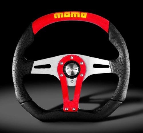 Momo Trk35Bk0R Trek Red 350 Mm Leather Steering Wheel front-74631