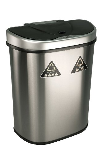 Nine Stars Trash Can/Recycler, Infrared Touchless Automatic Motion Sensor Lid, Stainless Steel, 18.5-Gallon (Can Recycling compare prices)