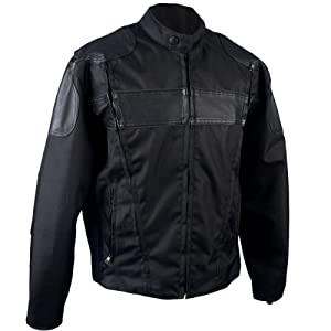 Hot Leathers #47 Nylon and Leather Motorcycle Jacket with Reflective Piping (Black, XXX-Large)