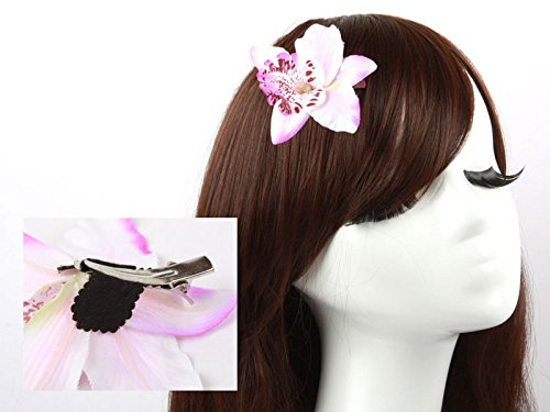 花型 ラン花 ヘアピン 髪飾り 海 プール 薄紫