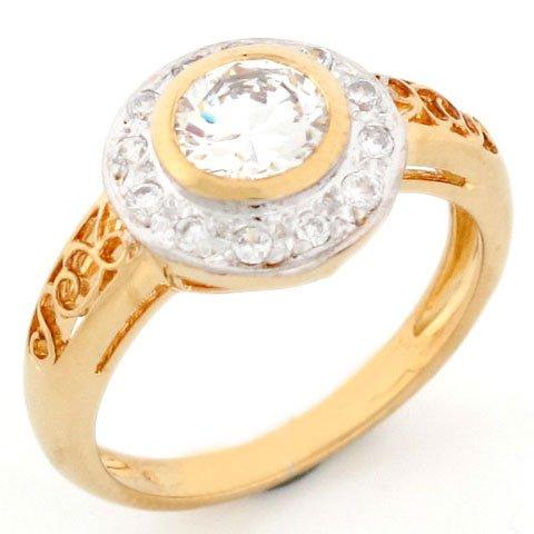 10k Gold CZ Filigree Unique Promise Engagement Ring