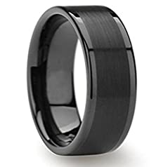 buy King Will 8Mm Black Tungsten Carbide Ring Brushed Center Polished Edge Mens Engagement Wedding Band(9)