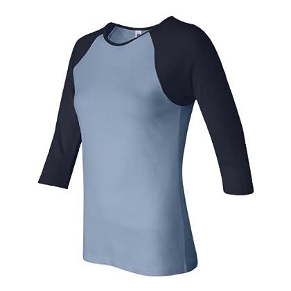 Bella B2000 Women's 3/4 Sleeve Contrast Raglan Ladies Two-Tone Baseball Shirt - Baby Blue/Navy B2000 M coupon codes 2015