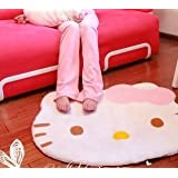 Lovely Big Head Hello Kitty Fuzzy Floor Cushion Mat Pad Bedroom Decoration Footcloth Rug 1 PC White