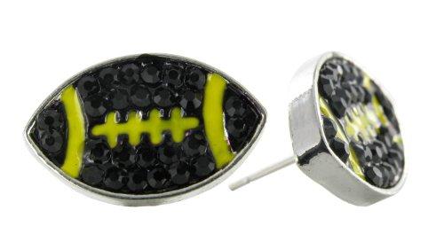 Flat Football Rhinestone Stud Earrings - Black Crystal Football with Yellow Enamel Stripes at Steeler Mania
