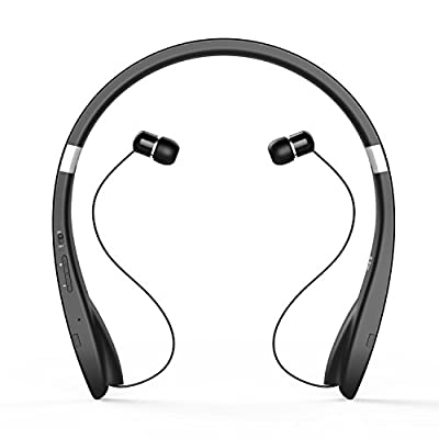 Dylan Bluetooth Headset [New Release] Bluetooth Headphone Wireless Neckband Design with Retractable Earbuds for iPhone, Android, Other Bluetooth Enabled Devices