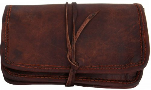 Tobacco Pouch Gusti Genuine Leather Make-Up Bag Purse Pocket Vintage Unisex Brown A2