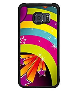printtech Colored Stars Pattern Back Case Cover for Samsung Galaxy S6 Edge::Samsung Galaxy Edge G925