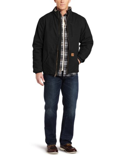 Carhartt Men's Sandstone Duck Muskegon Jacket, Black, Medium