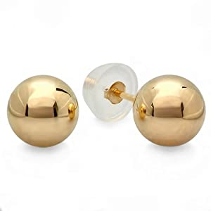 14k Yellow Gold Ball 8mm Stud Earrings with Silicone covered Gold Pushbacks