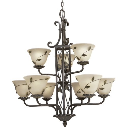 Progress Lighting P4024-77 9-Light Two-Tier Eden Chandelier, Forged Bronze