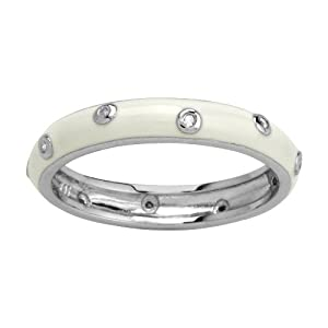 Sterling Silver White Enamel Diamond-Accent Women's Ring, Size 9