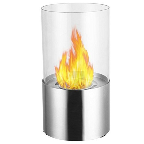Cascadia Ventless Clean Burning Ethanol Alcohol Tabletop Fireplace by e-Flame USA. Indoor & Outdoor Modern Fire Decor. Brushed Stainless Steel & Tempered Glass