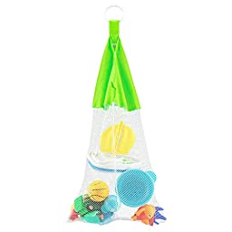 Bath Toy Organizer Mesh Storage Bag - Hangs Without the Hassle of Unreliable Suction Cups - Net Holder for Baby/Kids Toys