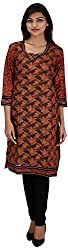 NelNik Women's Cotton Regular Fit Kurti (SKU_Nel002_Medium, Brown, Medium)