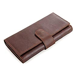 Kattee Mens Real Leather Large Wallet, Cash Cards Cell Phone Clutch Purse