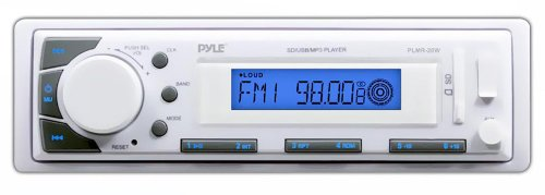 Pyle PLMR20W Marine In-Dash Receiver with AM/FM Radio and AUX Input for iPod/MP3 Players and SD/USB Flash Readers